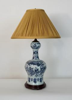 Blue and White Dutch Delft Garlic Neck Vase now Table Lamp - 1533480