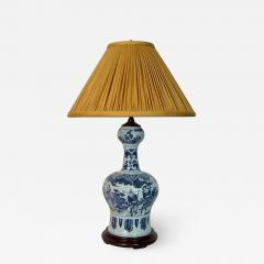 Blue and White Dutch Delft Garlic Neck Vase now Table Lamp - 1533532