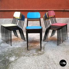 Blue yellow and red laminate chairs 1950s - 2025957