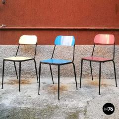 Blue yellow and red laminate chairs 1950s - 2025959