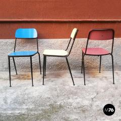 Blue yellow and red laminate chairs 1950s - 2025960