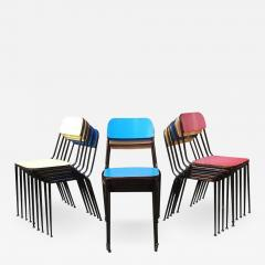 Blue yellow and red laminate chairs 1950s - 2028398