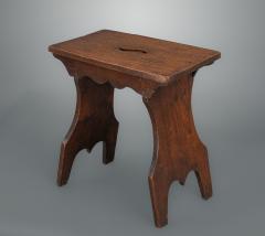 Boarded Elm 18th Century Stool of Trestle Design - 1131760