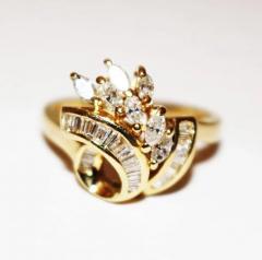 Bold Elegant Modern Natural Marquise Diamond Cocktail Ring - 1674467