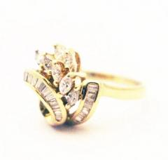 Bold Elegant Modern Natural Marquise Diamond Cocktail Ring - 1674469
