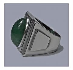 Bold Striking Art Deco Architectural Design Ring French Import Mark C 1920 - 474054