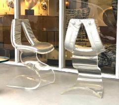 Boris Tabacoff Boris Tabacoff Pair of Dumas Chairs with Original Silver Upholstery 1970 - 1421342