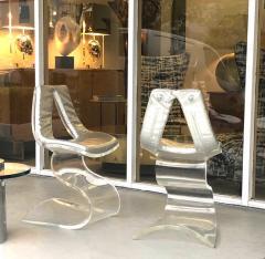 Boris Tabacoff Boris Tabacoff Pair of Dumas Chairs with Original Silver Upholstery 1970 - 1421344