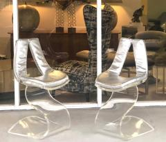 Boris Tabacoff Boris Tabacoff Pair of Dumas Chairs with Original Silver Upholstery 1970 - 1421345