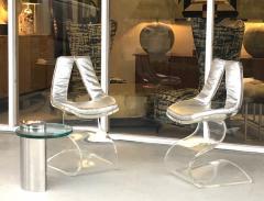 Boris Tabacoff Boris Tabacoff Pair of Dumas Chairs with Original Silver Upholstery 1970 - 1421353