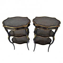 Boulle Style Three Tier Ebony and Bronze Ormolu Tables - 169142