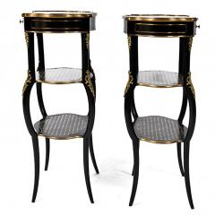 Boulle Style Three Tier Ebony and Bronze Ormolu Tables - 169143