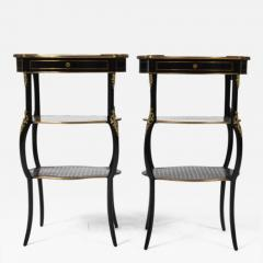 Boulle Style Three Tier Ebony and Bronze Ormolu Tables - 171459