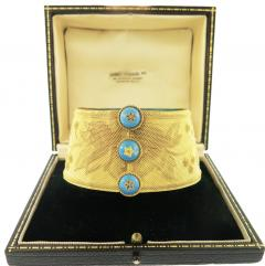 Boxed Russian 19th Century Blue Enamel and Gold Bracelet - 81137