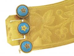 Boxed Russian 19th Century Blue Enamel and Gold Bracelet - 81279