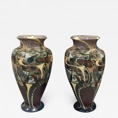 Brantjes Pair of Monumental Art Nouveau Hand Painted Ceramic Vases 1896 signed  - 853423