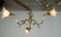 Brass Art Nouveau Chandelier 1900s - 1680863