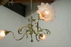 Brass Art Nouveau Chandelier 1900s - 1680865