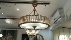 Brass Chandelier with Crystal Inserts - 1114537