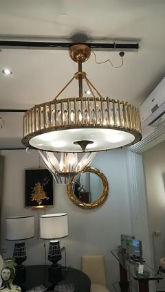 Brass Chandelier with Crystal Inserts - 1114539