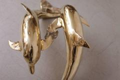 Brass Coffee Table in Form of Two Dolphins - 538877