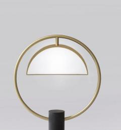 Brass Half in Circle Table Lamp Square in Circle - 1653437