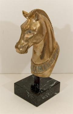 Brass Horse Head Sculpture on Marble Base - 235256