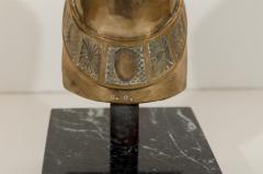 Brass Horse Head Sculpture on Marble Base - 235258