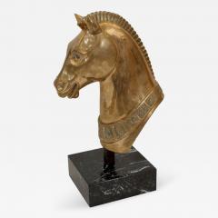 Brass Horse Head Sculpture on Marble Base - 241948
