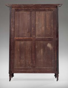 Brass Inlaid Carved Mahogany Armoire - 917423
