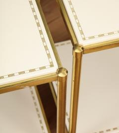 Brass Leather Side Tables - 1122934