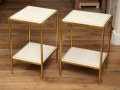 Brass Leather Side Tables - 1122936