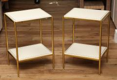 Brass Leather Side Tables - 1122940