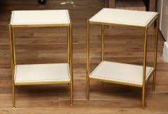 Brass Leather Side Tables - 1122941