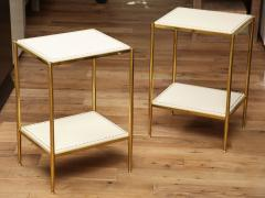 Brass Leather Side Tables - 1122942