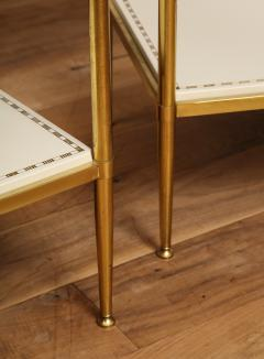 Brass Leather Side Tables - 1122943