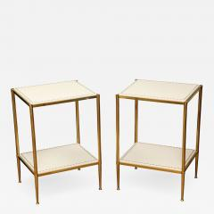 Brass Leather Side Tables - 1123315