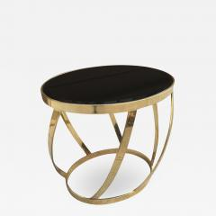 Brass Side Table with Smoked Glass Top by Karl Springer - 622236