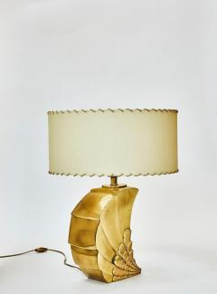 Brass Table Lamp with Parchment Paper Shades - 1110337