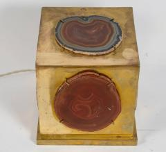 Brass and Agate Square Box Table Lamp - 721554