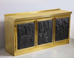 Brass and Black Bespoke Brutalist Style Sideboard or Credenza Italy 2019 - 1260338