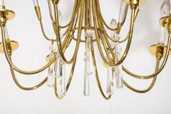Brass and Crystal Chandelier - 840081