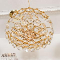 Brass and Facet Cut Crystal Chandelier - 68383