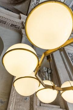 Brass and Glass Chandelier from the Grand Hotel President 3 Available - 1862733