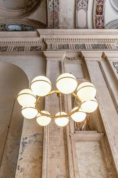 Brass and Glass Chandelier from the Grand Hotel President 3 Available - 1862754