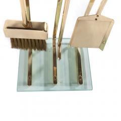 Brass and Glass Fireplace Tool Set Circa 1970s - 482617