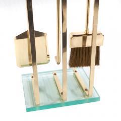 Brass and Glass Fireplace Tool Set Circa 1970s - 482619