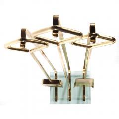 Brass and Glass Fireplace Tool Set Circa 1970s - 482620