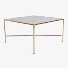 Brass and Glass Tubular Square Cocktail Table - 326767
