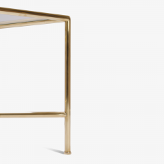 Brass and Glass Tubular Square Cocktail Table - 326769